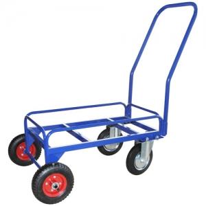 Тележка для дворника неповоротная ТДП на промышленных литых колесах диаметром 200 мм и пневматических колесах диаметром 200 мм.