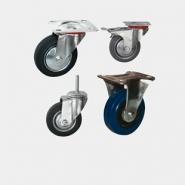 Промышленные колесные опоры, полуэластичная черная резина