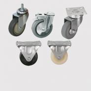 Аппаратные и медицинские колеса: платформенное крепление, под болт и с болтом, серая резина, термопластичная резина, полиуретан, твердая черная резина, нейлон.