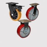 Колесные опоры болшегрузные, неповоротные и поворотные с тормозом, полиуретановый контактный слой, чугунный обод, платформенное крепление.