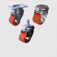 Колесные опоры болшегрузные, поворотные, малых диаметров, полиуретановый ролик.