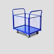 Тележки платформенные металлические с сетчатыми бортами, предназначены для перевозки мелкогабаритных товаров и грузов.