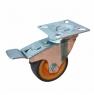 Колесо аппаратное поворотное с тормозом - поворотная колесная опора  с тормозом, платформенное крепление, термопластичная серая резина SCkb 25