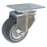 Колесо аппаратное поворотное - поворотная колесная опора, платформенное крепление, термопластичная серая резина SCk 93+