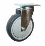 Колесо аппаратное поворотное - поворотная колесная опора, платформенное крепление, термопластичная серая резина SCk42+
