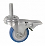 Колесо аппаратное поворотное с тормозом - поворотная колесная опора с тормозом, ПВХ (синий), болтовое крепление SCtvb 25+