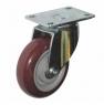 Колесо аппаратное поворотное - поворотная колесная опора, платформенное крепление, полиуретановый контактный слой SCpk 55