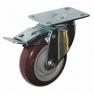 Колесо аппаратное поворотное с тормозом - поворотная колесная опора  с тормозом, платформенное крепление, полиуретановый контактный слой SCpkb 42