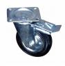 Колесо промышленное усиленное поворотное с тормозом - поворотная колесная опора усиленная, с тормозом, платформенное крепление SRCb 80+
