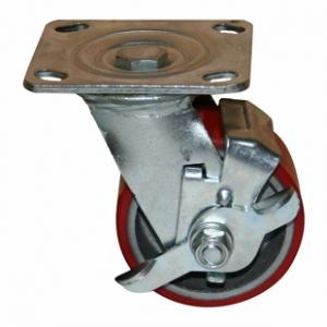 Поворотная колесная опора с тормозом, полиуретановый контактный слой, платформенное крепление SCpb 42
