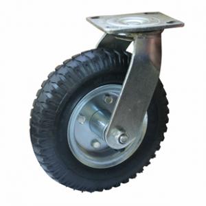Колесо пневматическое поворотное - поворотная колесная опора, пневматическая, платформенное крепление PRS 80