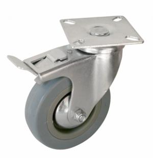 Колесо аппаратное поворотное с тормозом - поворотная колесная опора с тормозом, платформенное крепление  SCgb 42+