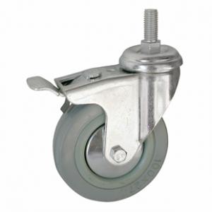 Колесо аппаратное поворотное с тормозом - поворотная колесная опора с тормозом, болтовое крепление SCtgb 42+