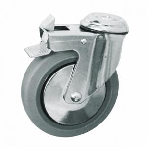 Колесо медицинское аппаратное поворотное с тормозом - поворотная колесная опора  с тормозом, крепление под болт SChgb 42-1