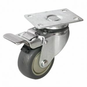 Колесо аппаратное поворотное с тормозом - поворотная колесная опора  с тормозом, платформенное крепление, термопластичная серая резина SCkb 93+
