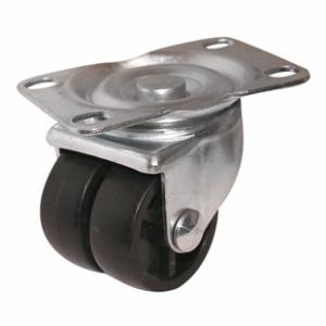 Колесная опора поворотная, большегрузная, двойной полиуретановый ролик, платформенное крепление, 904050