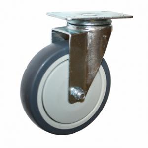 Колесо аппаратное поворотное - поворотная колесная опора, платформенное крепление, термопластичная серая резина SCk 55+