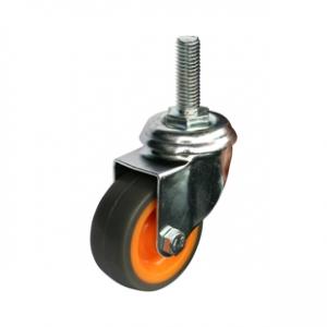 Колесо аппаратное поворотное - поворотная колесная опора, болтовое крепление, термопластичная серая резина SCtk 25