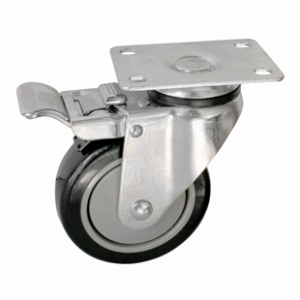 Колесо аппаратное поворотное с тормозом - поворотная колесная опора  с тормозом, платформенное крепление, полиуретановый контактный слой SCmb 93