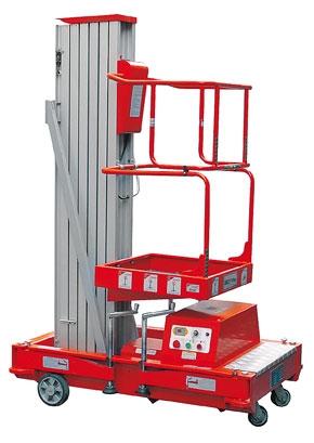 Подъемник телескопический мачтовый GTWY 10.1000DC (GTWY12.1000DC new) – это устройство для вертикального подъема-спуска людей и грузов. Рабочая высота до 12 метров, питание от аккумуляторной батареи 12 В, размер площадки: 630х640