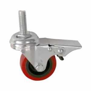 Колесо аппаратное поворотное с тормозом - поворотная колесная опора c торомозом, полиуретан, болтовое крепление SCtrb 25