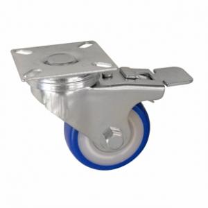 Колесо аппаратное поворотное с тормозом - поворотная колесная опора с тормозом, ПВХ (синий), платформенное крепление SCvb 25+