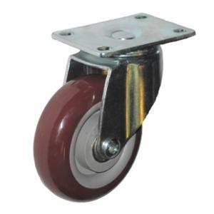 Колесо аппаратное поворотное - поворотная колесная опора, платформенное крепление, полиуретановый контактный слой SCpk 42