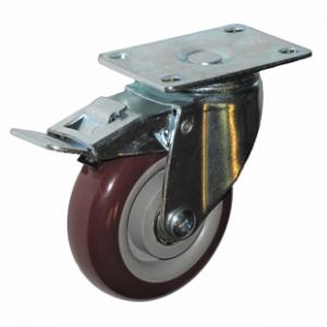 Колесо аппаратное поворотное с тормозом - поворотная колесная опора  с тормозом, платформенное крепление, полиуретановый контактный слой SCpkb 93