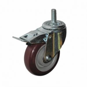 Колесо аппаратное поворотное с тормозом - поворотная колесная опора с тормозом, болтовое крепление, полиуретановый контактный слой SCtpkb 42