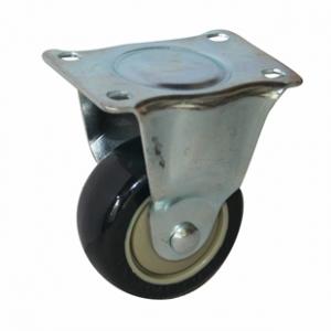 Колесо аппаратное неповоротное - неповоротная колесная опора, платформенное крепление, полиуретановый контактный слой FCm 46
