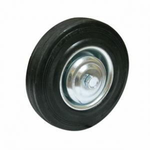 Колесо промышленное С46, шинка - черная полуэластичная резина, обод-штампованная листовая сталь, оцинкован, защитные кожуха. Допустимая нагрузка 70 кг.
