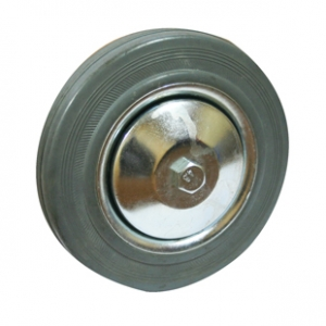 Колесо промышленное С46f, шинка - серая полуэластичная резина, обод-штампованная листовая сталь, оцинкован, защитные кожуха. Допустимая нагрузка 70 кг.