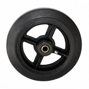 Колесо большегрузное D54, чугунный обод, литая черная резина. Допустимая нагрузка 180 кг.