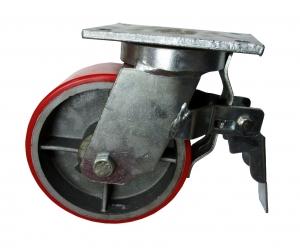 Колесо большегрузное поворотное с тормозом-поворотная колесная опора с тормозом, полиуретановый контактный слой SCpxb 80